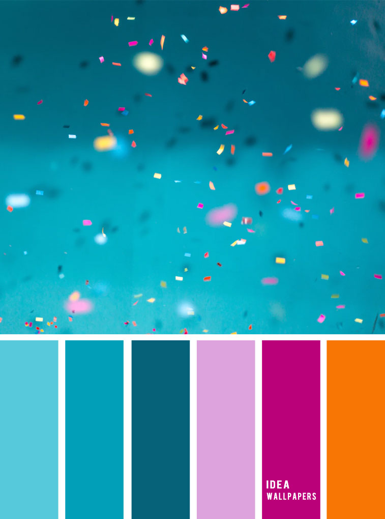 A pretty color palette of Teal magenta + orange and lavender color palette. light purple magenta and teal color combination, color schemes, fall colors
