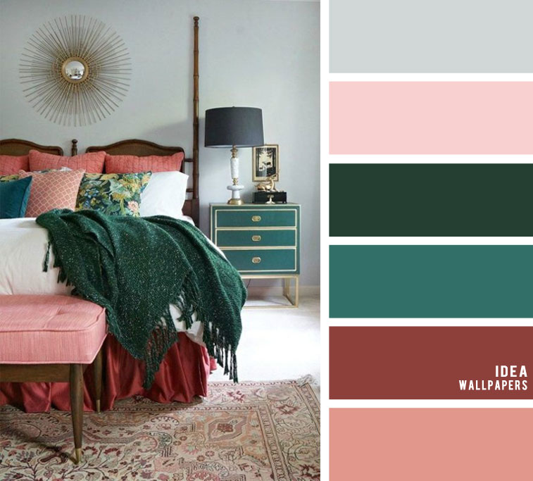 10 Best Color Schemes for Your Bedroom { Dark Green + Peacock + Blush }, blush color palette, colour palette #color #colorpalette