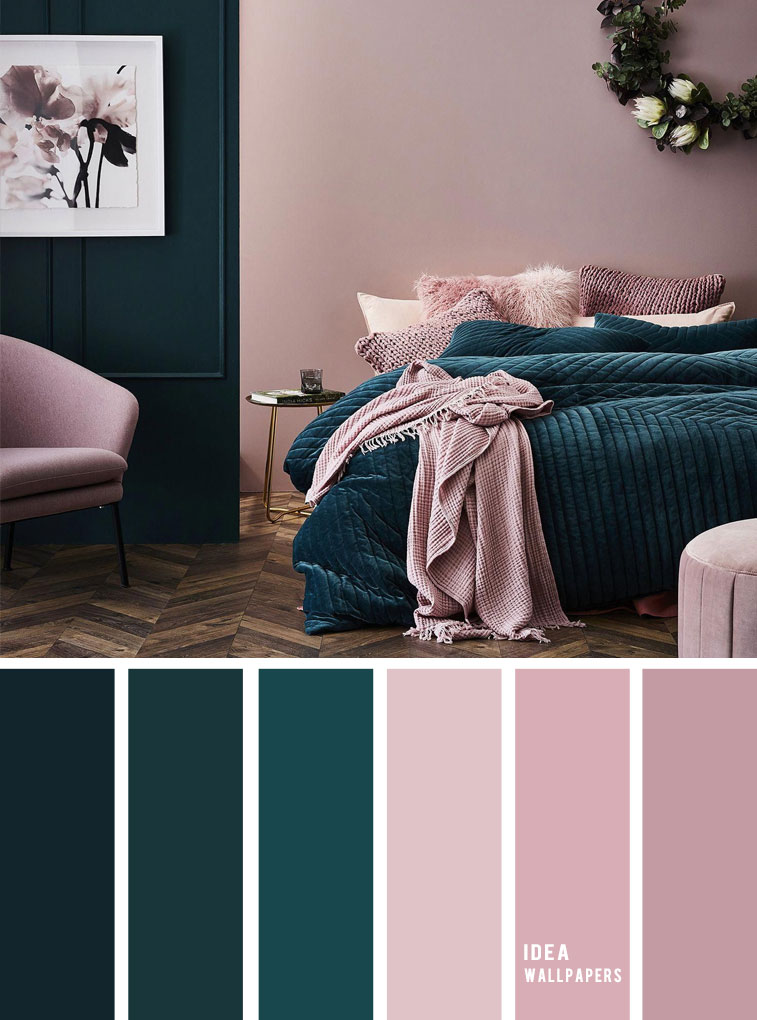 10 Best Color Schemes for Your Bedroom { Deep ocean + Teal + Mauve }, blush color palette, colour palette #color #colorpalette