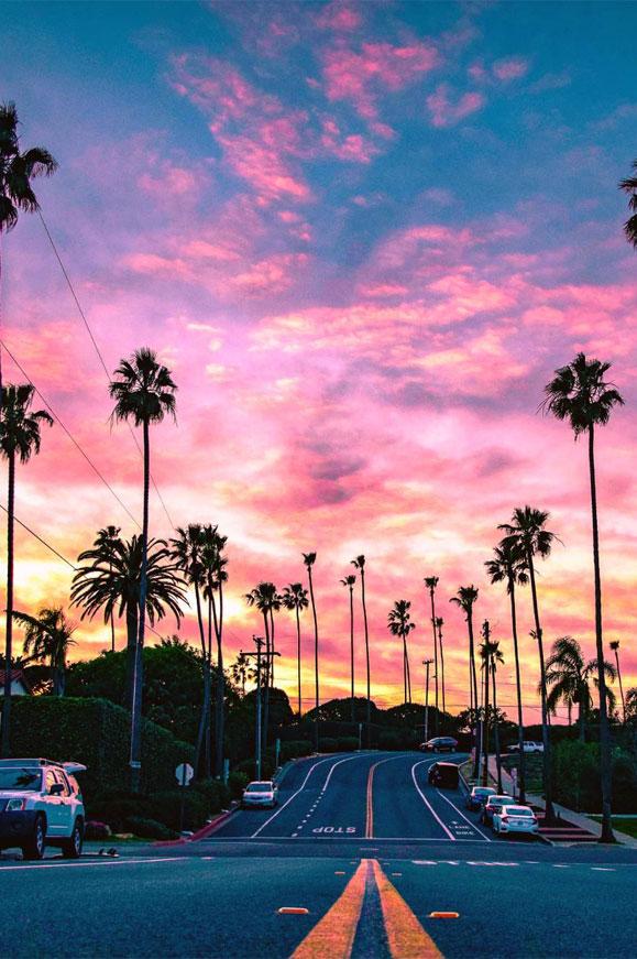 Sunset Pink Background Beach Wallpaper