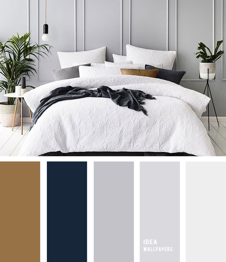 10 Best Color Schemes for Your Bedroom { Navy Blue and Grey + Hint of Gold }, grey color palette, colour palette #color #colorpalette