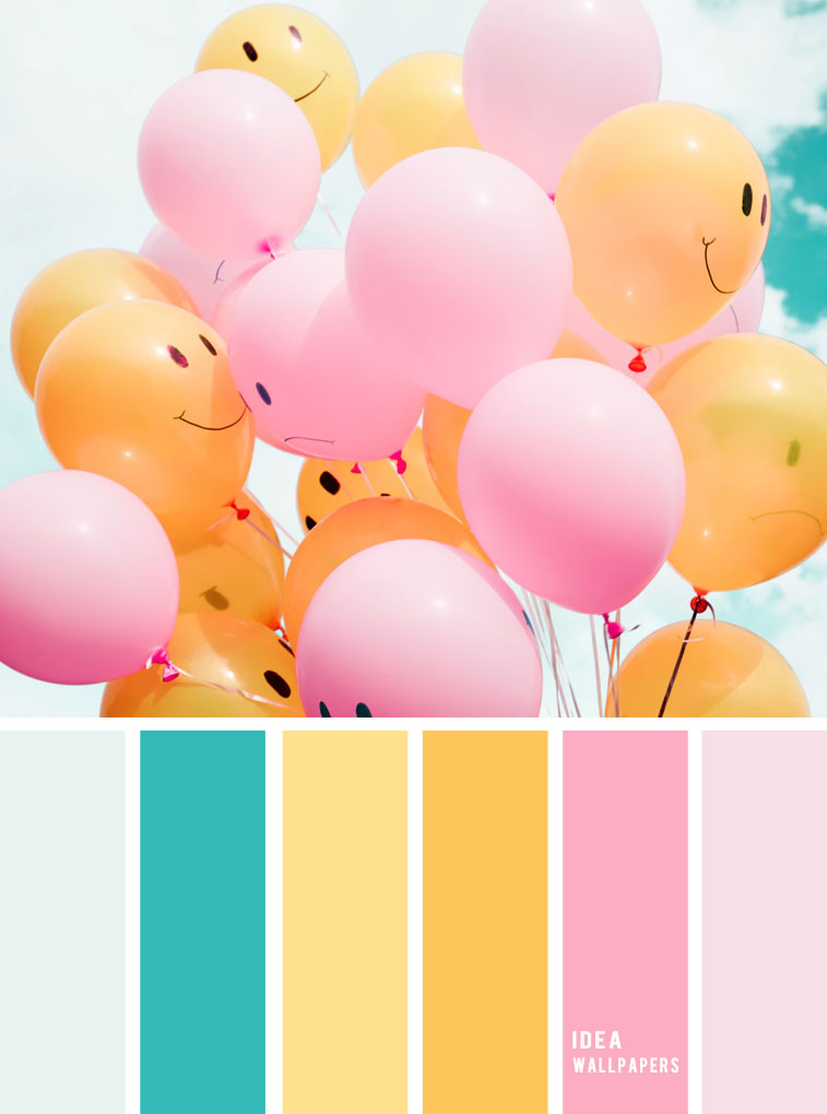 Pink and yellow color palette #color #colorpalette #spring #balloons