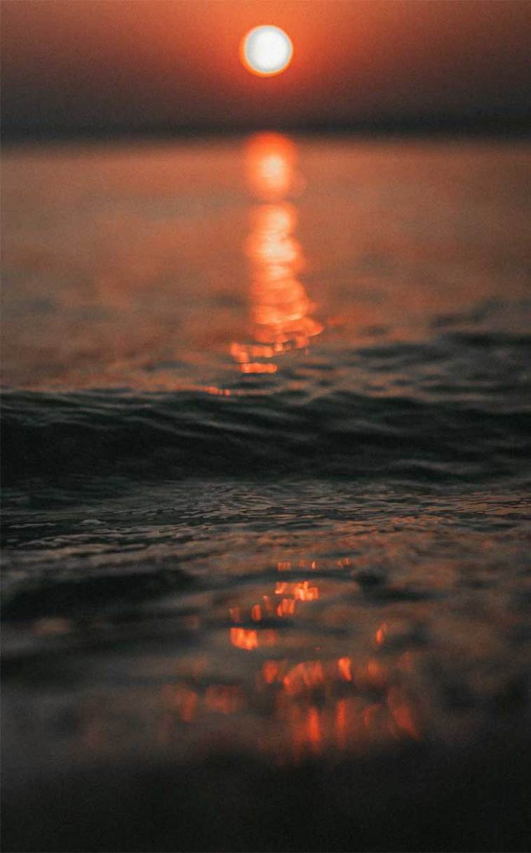 Sunset orange sky reflect the sea water,ocean, sea #sunset #ocean