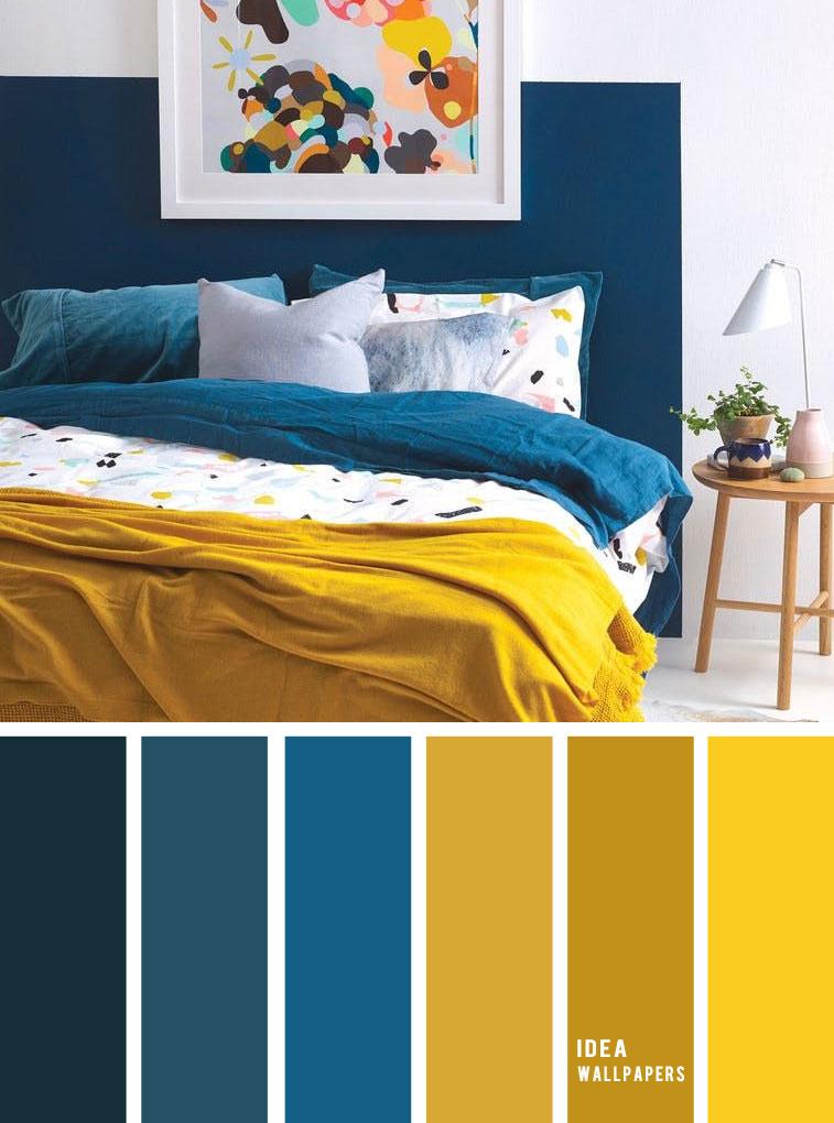 10 Best Color Schemes for Your Bedroom { Blue + Mustard } mustard color bedroom, grey color palette, colour palette #color #colorpalette