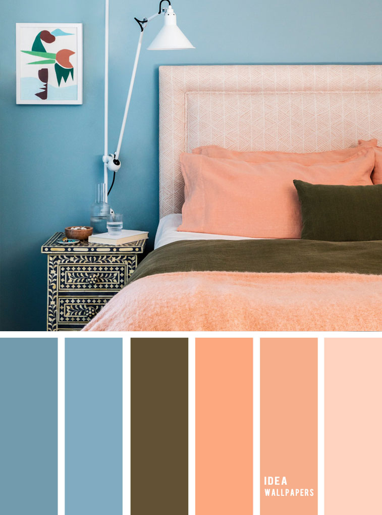 10 Best Color Schemes for Your Bedroom { Blue + Peach } Teal and peach color bedroom, grey color palette, colour palette #color #colorpalette
