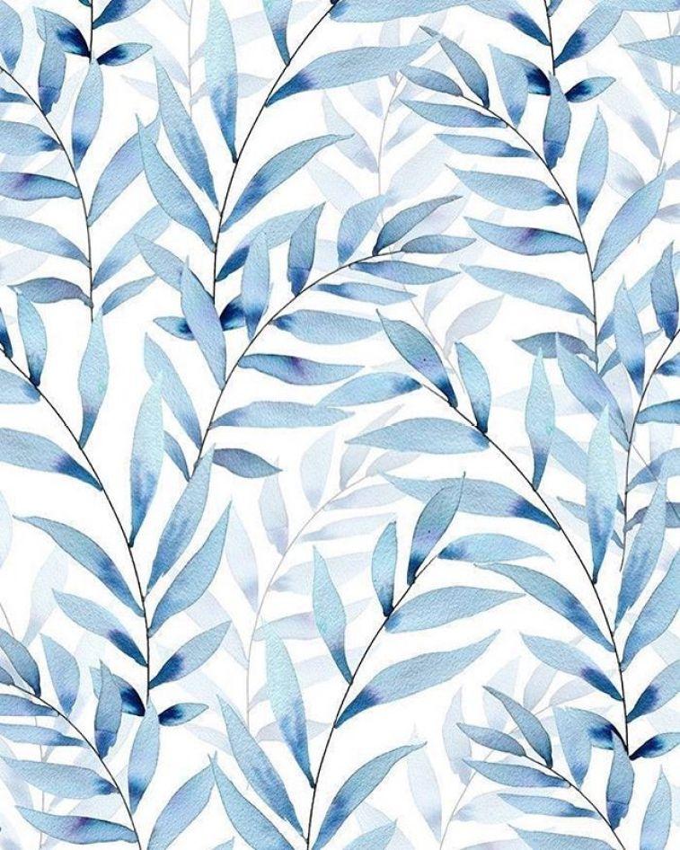 blue leaves, illustrate , watercolor #wallpaper