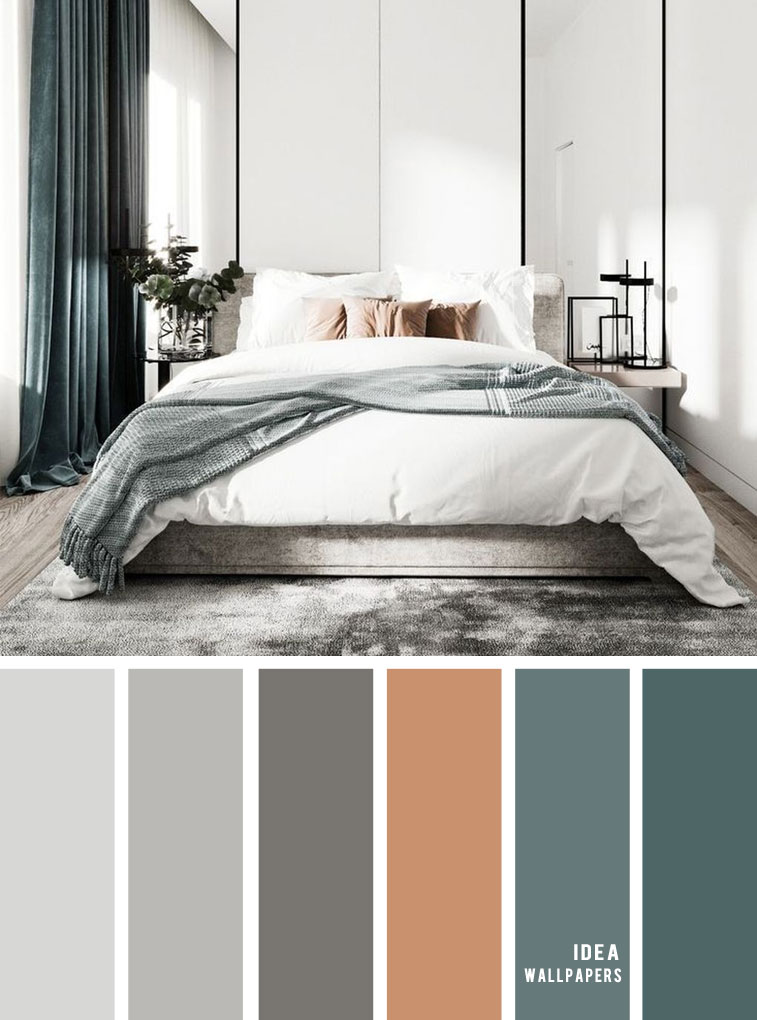 11 Gorgeous Bedroom in Grey Hues { Brown + Green + Grey } - Grey Color schemes #grey #bedroom #color #bedroomcolor