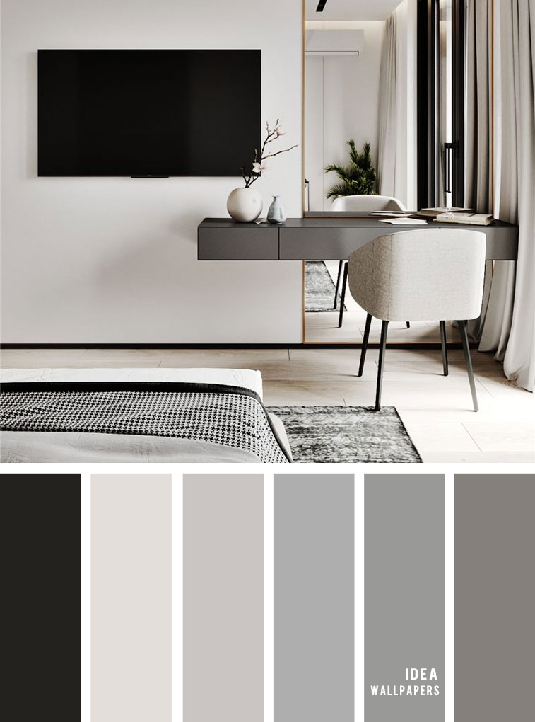 11 Gorgeous Bedroom in Grey Hues - Grey Color schemes #grey #bedroom #color #bedroomcolor