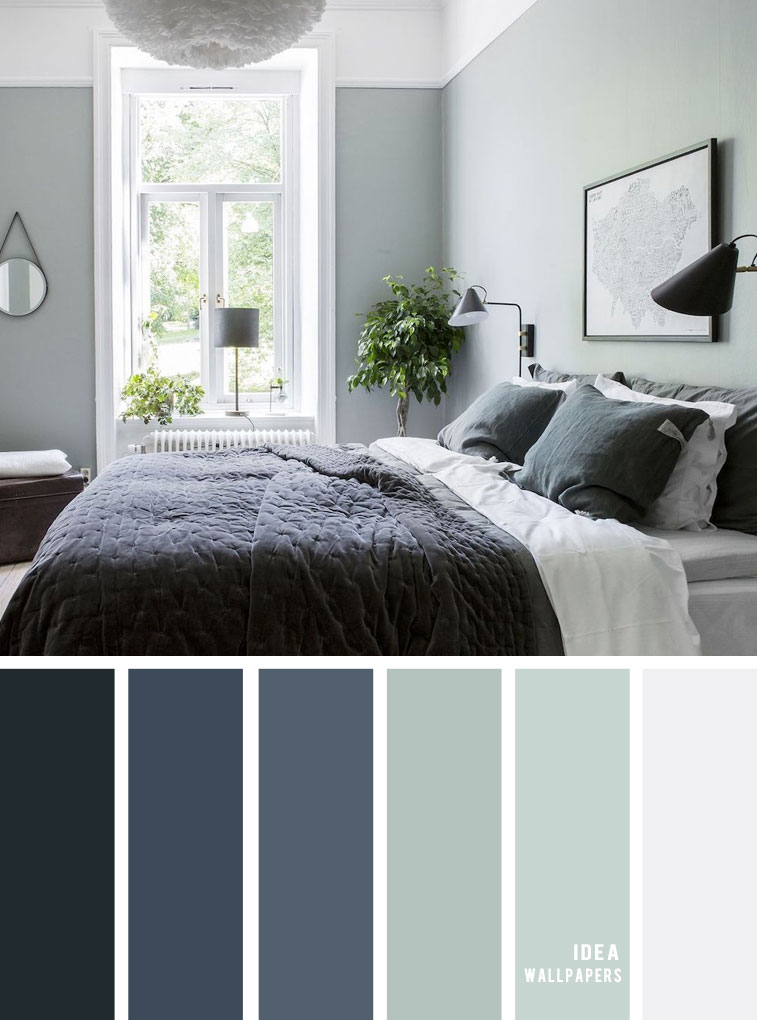 25 Best Color Schemes for Your Bedroom { Sage and Dark blue Bedroom }, color palette, colour palette #color #colorpalette #bedroom #colorinspiraiton #colors bedroom color ideas , sage and dark blue, navy blue and sage
