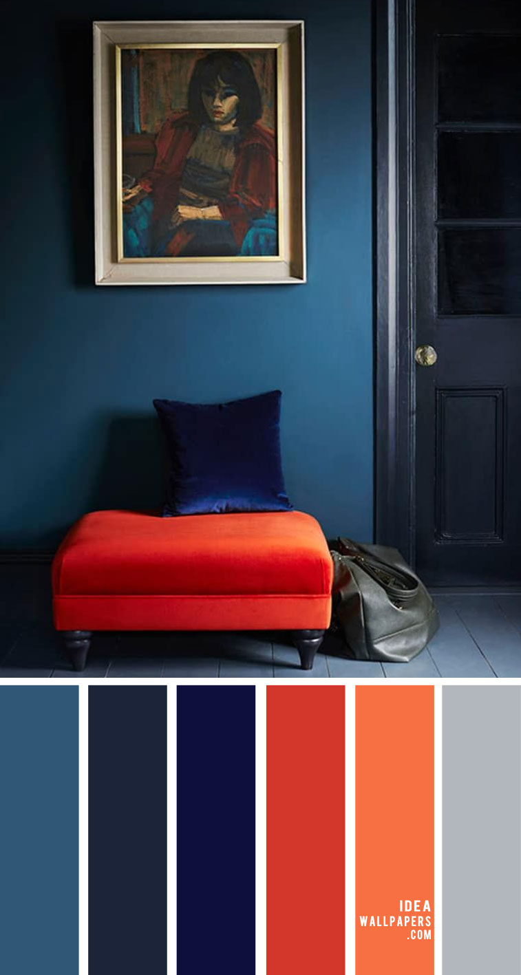 living room color ideas, cobalt blue and coral color for home color, home color , living room colors, coral living room, cobalt blue living room, dark blue and coral #livingroom #homecolor #colors