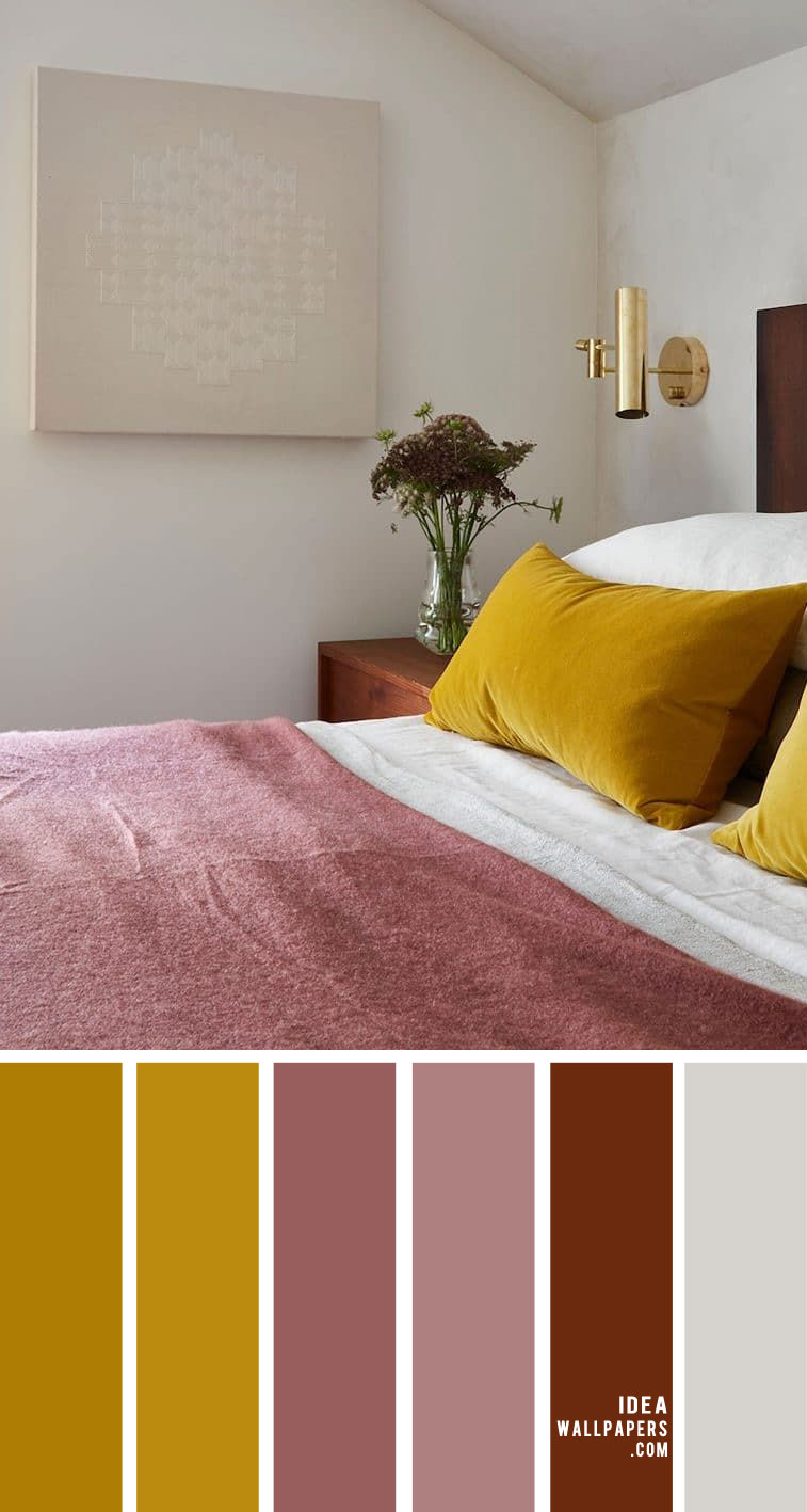 25 Best Color Schemes For Your Bedroom , mustard and mauve color combos, color palette , bedroom color ideas, bedroom color schemes, yellow bedroom, mauve color #bedroomcolor #color