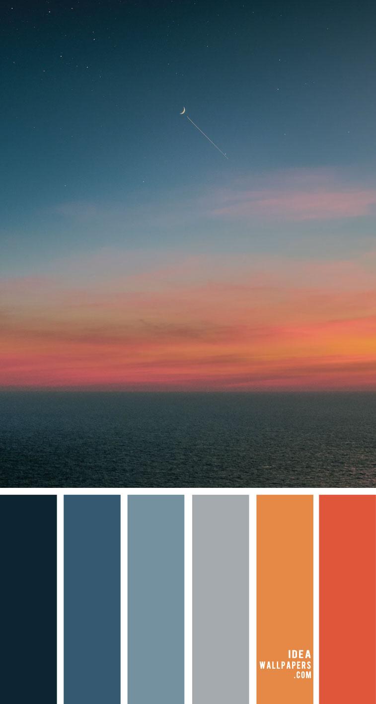 indigo and orange color palette, dark blue, orange sky, color combos, hex color , color scheme, color palette, color palette photos