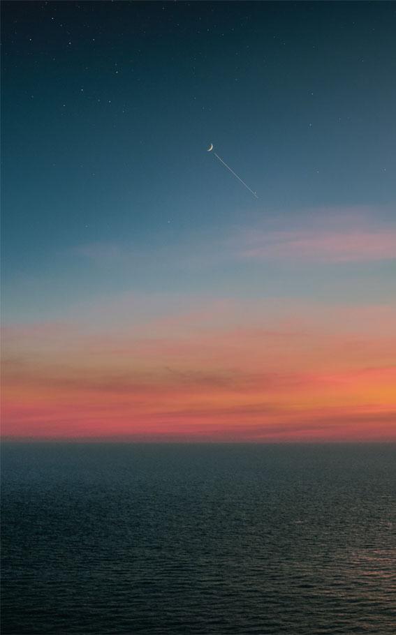 sky iphone wallpaper, orange sky, indigo