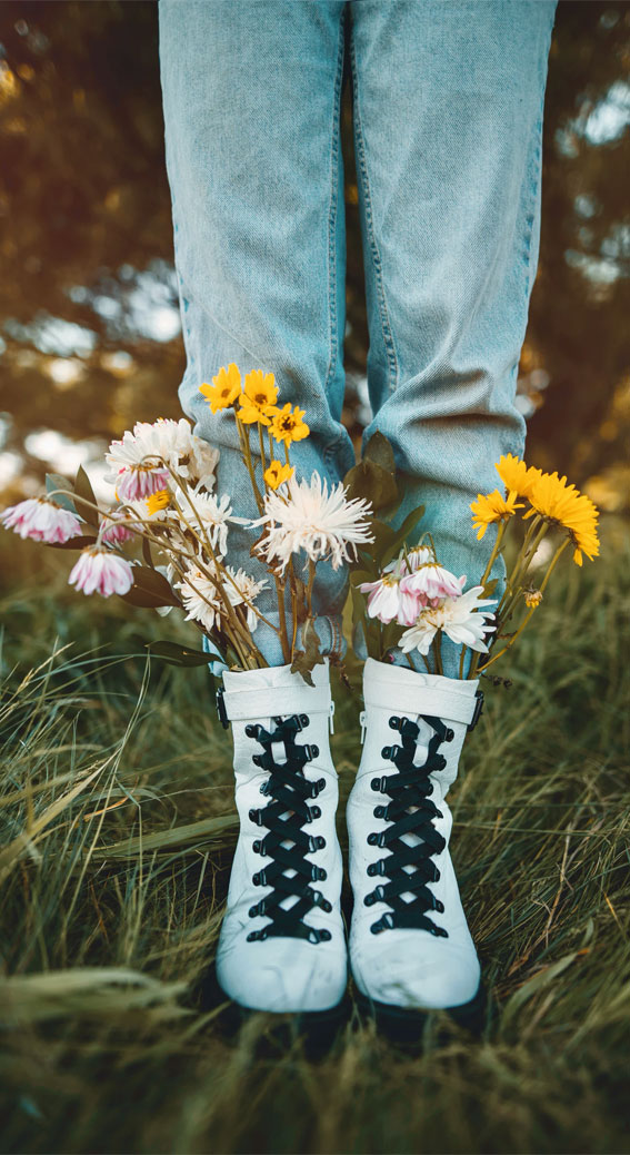 wearing flowers in your boots, flowers in her boots, wearing flowers in boots