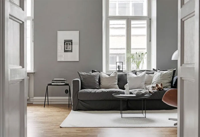 grey living room, grey living room decor, modern living space, grey living room decorating ideas, grey wall paints