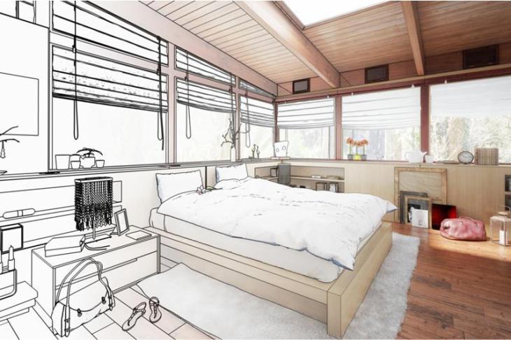 łóżko w dużej sypialni