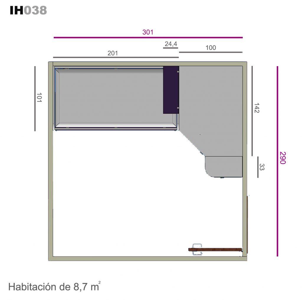 Idehbita  Dormitorio juvenil con cama compacto armario