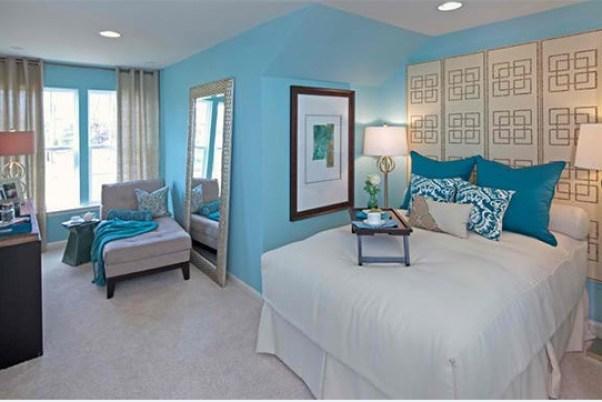model alb albastru de dormitor