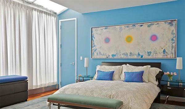 dormitor albastru de apartament bleu