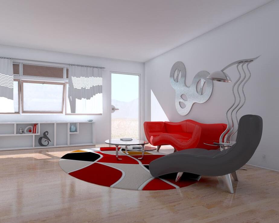 camera de zi alb rosu moderna
