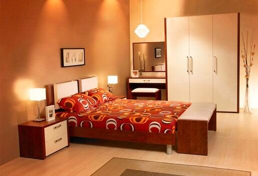 dormitorul portocaliu tapet