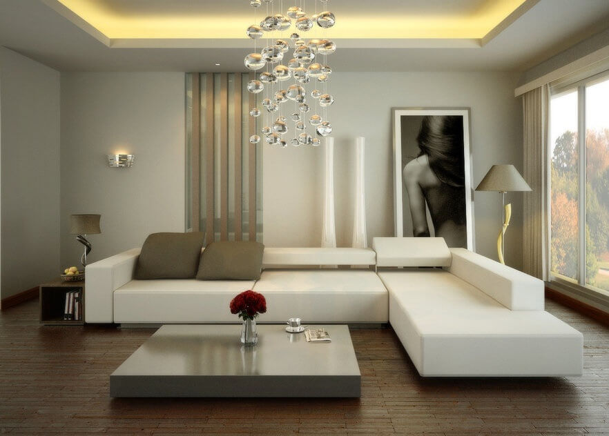 Trei idei de design interior living room modern alb