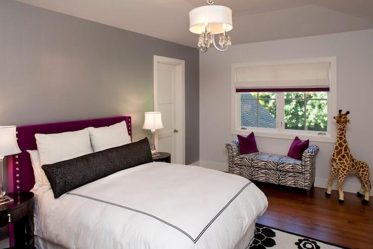 dormitor alb gri purpuriu poza