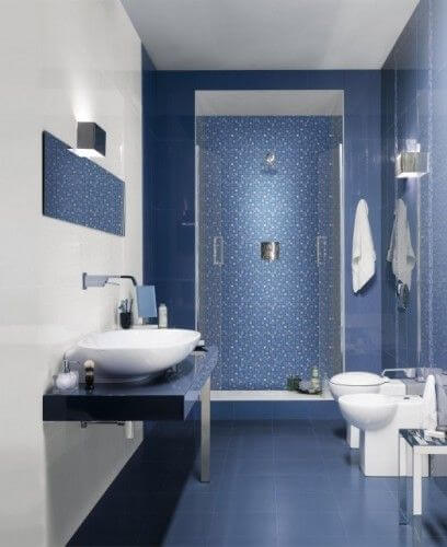 baie moderna alb albastru