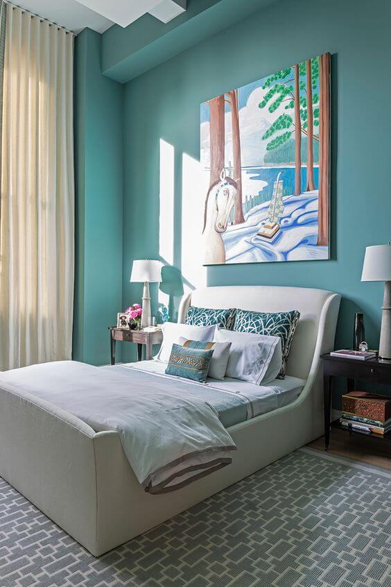dormitor mic alb albastru