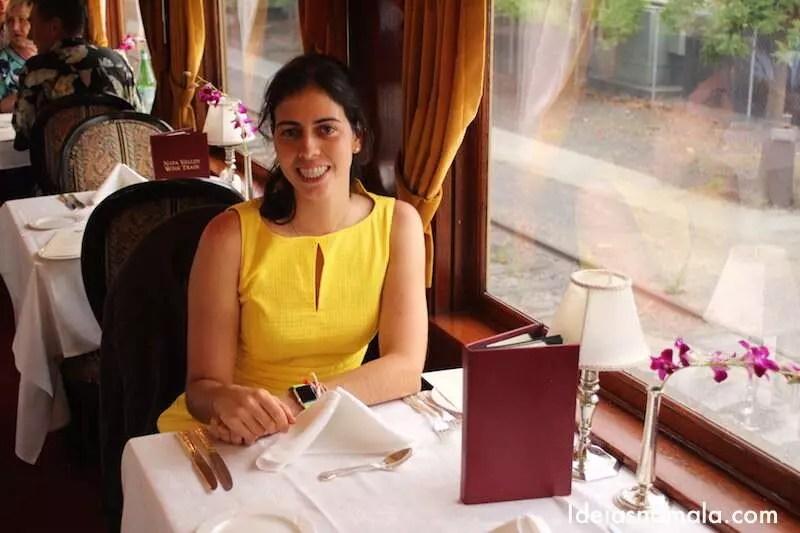 Sentada na mesa de jantar do trem de Napa