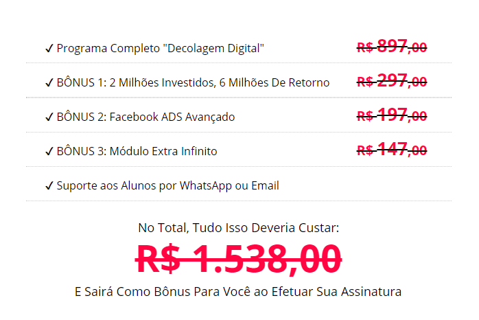 valores decolagem digital