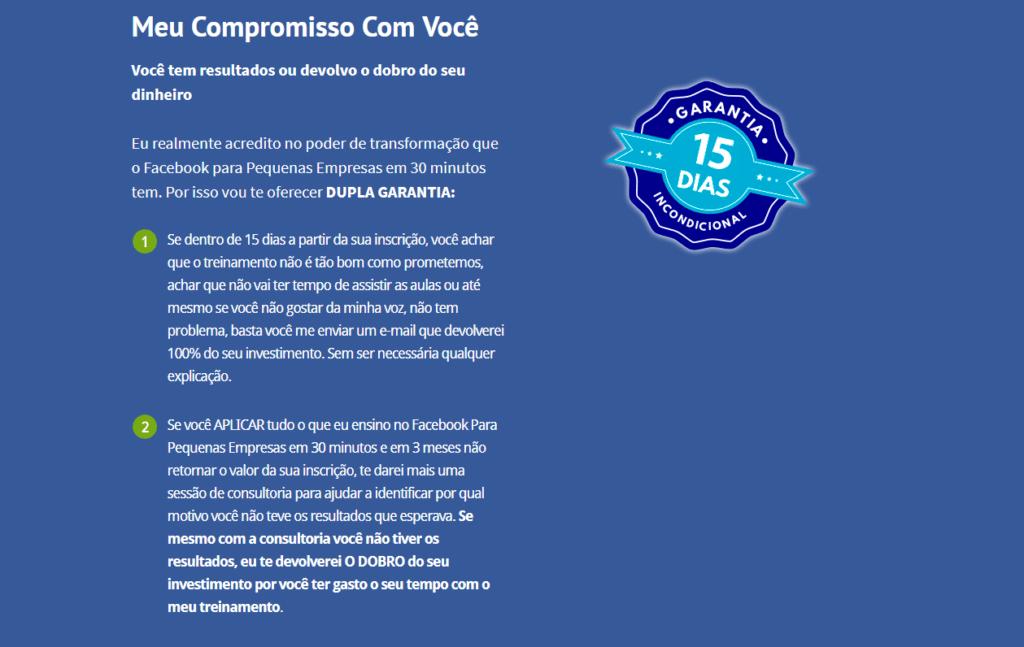 compromisso garantia curso facebook para empresas