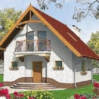 Model ieftin de casa mica cu mansarda in suprafata de 74 mp