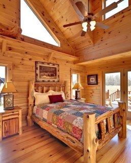 Interioare de vis din cabane rustice de lemn 19