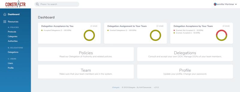 iDelegate | Delegate / Delegator dashboard