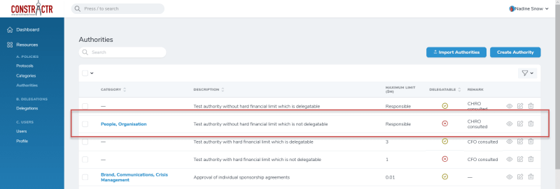iDelegate | Authority edited in list view