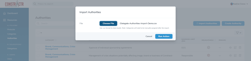 iDelegate | Select spreadsheet file