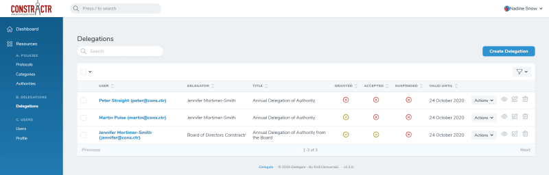 iDelegate | Administrators can manipulate all Delegations of Authority in iDelegate
