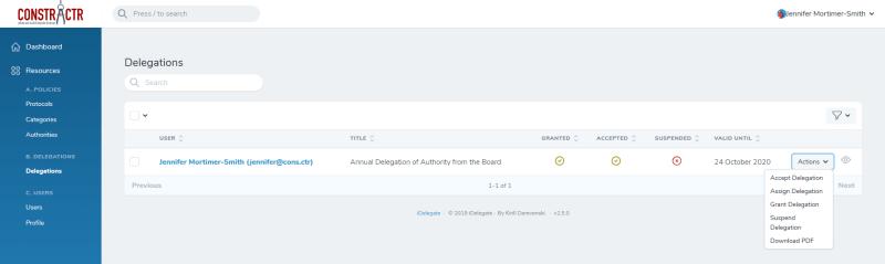 iDelegate | Choose Assign Delegation from the list of options