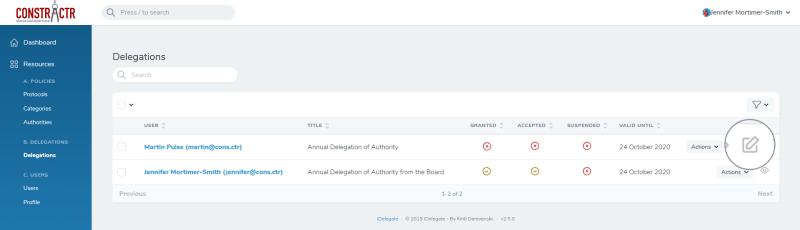iDelegate | Delegation Edit button