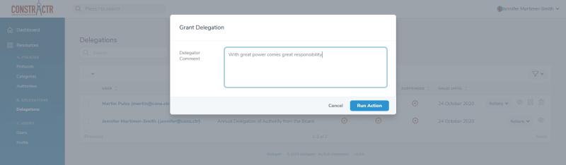 iDelegate | Enter an optional comment