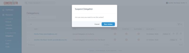 iDelegate | Confirm delegation suspension