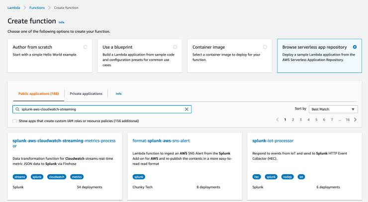 AWS lamba function setup screenshot