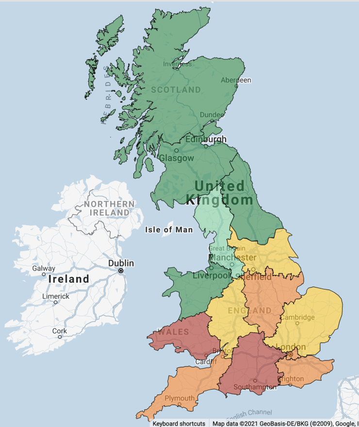 Map of the UK showing carbon intensity per region