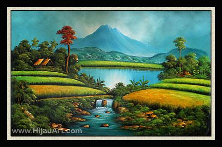 Lukisan Pemandangan Sawah Padi Di Kampung