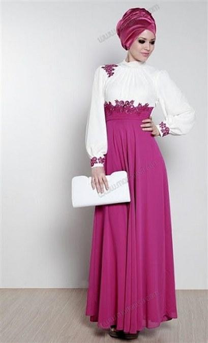 Model Baju Muslim Hijab Pesta Putih ungu