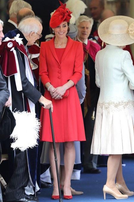 bright red Catherine Walker coat dress