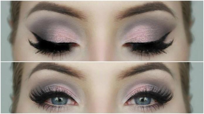 Imagini pentru pink and grey smokey eyes