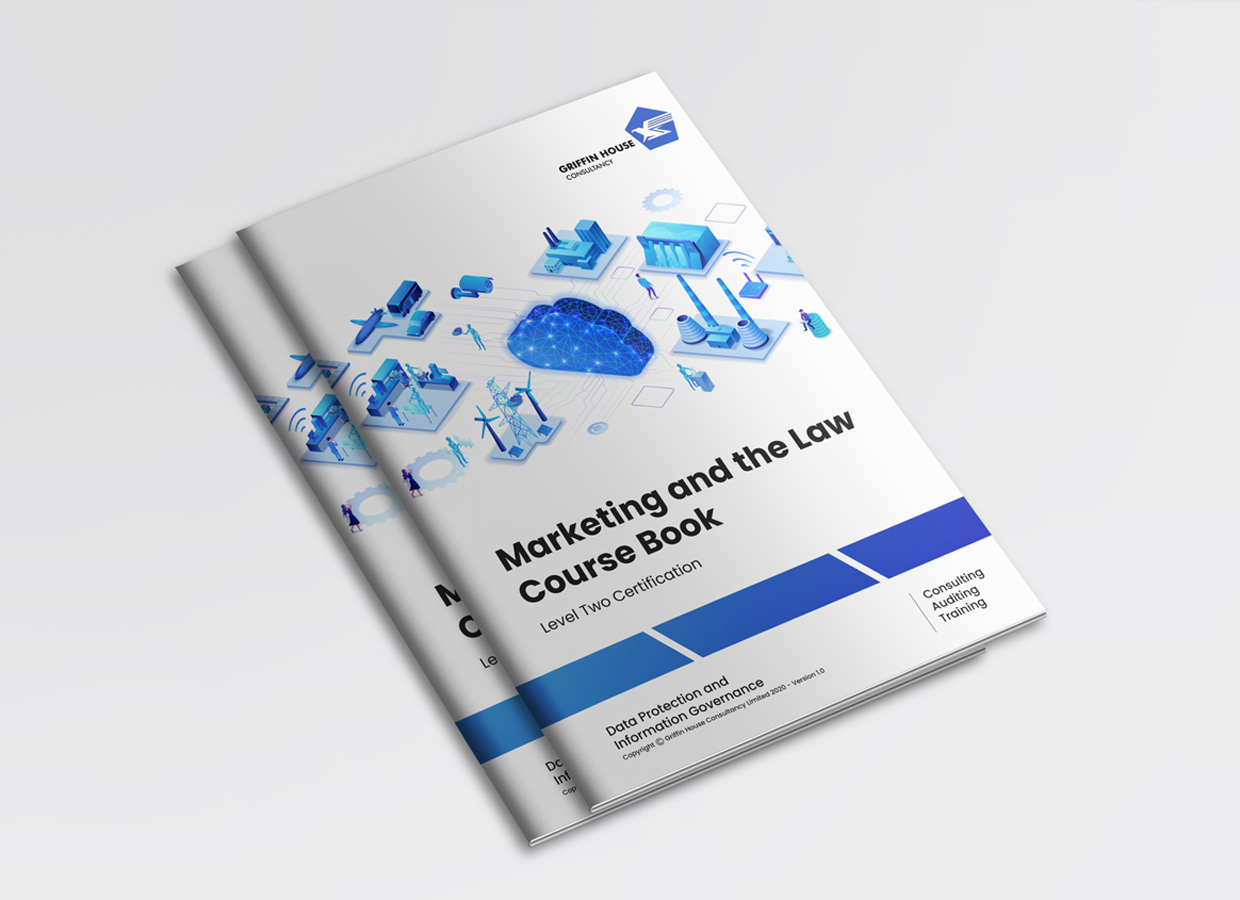 Marketing and Law course books on top of each other