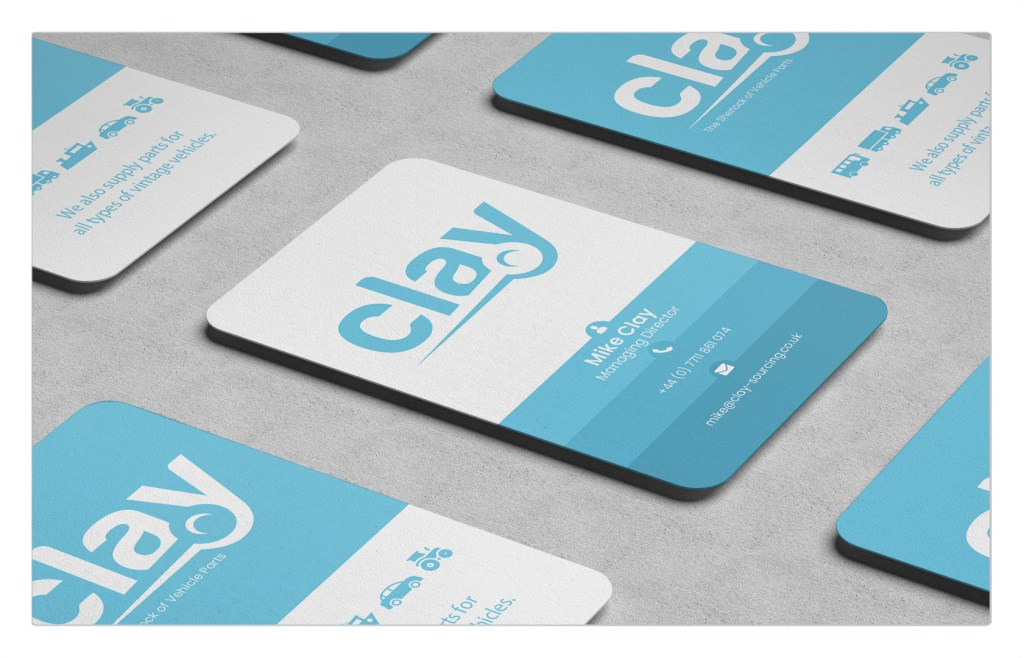 One of our customers business cards in blue